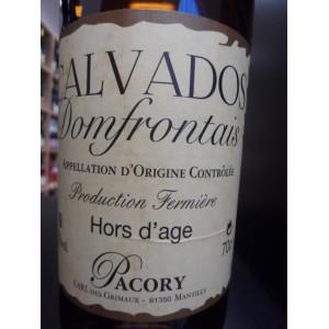 Calvados Domfrontais PACORY Hors d'Age, Production fermière. 42% 70cl
